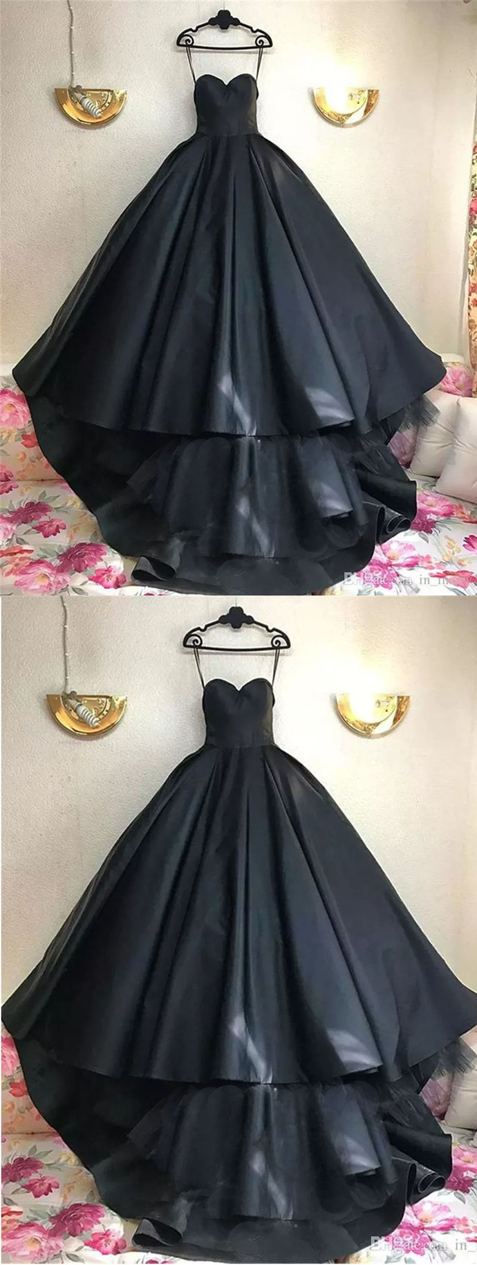 Simple black satin strapless high-low homecoming dress