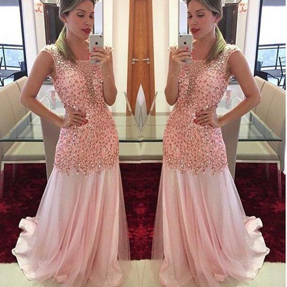 Pink Prom Dresses,mermaid Prom Dresses,boat Neck Prom Dresses,Chiffon Prom