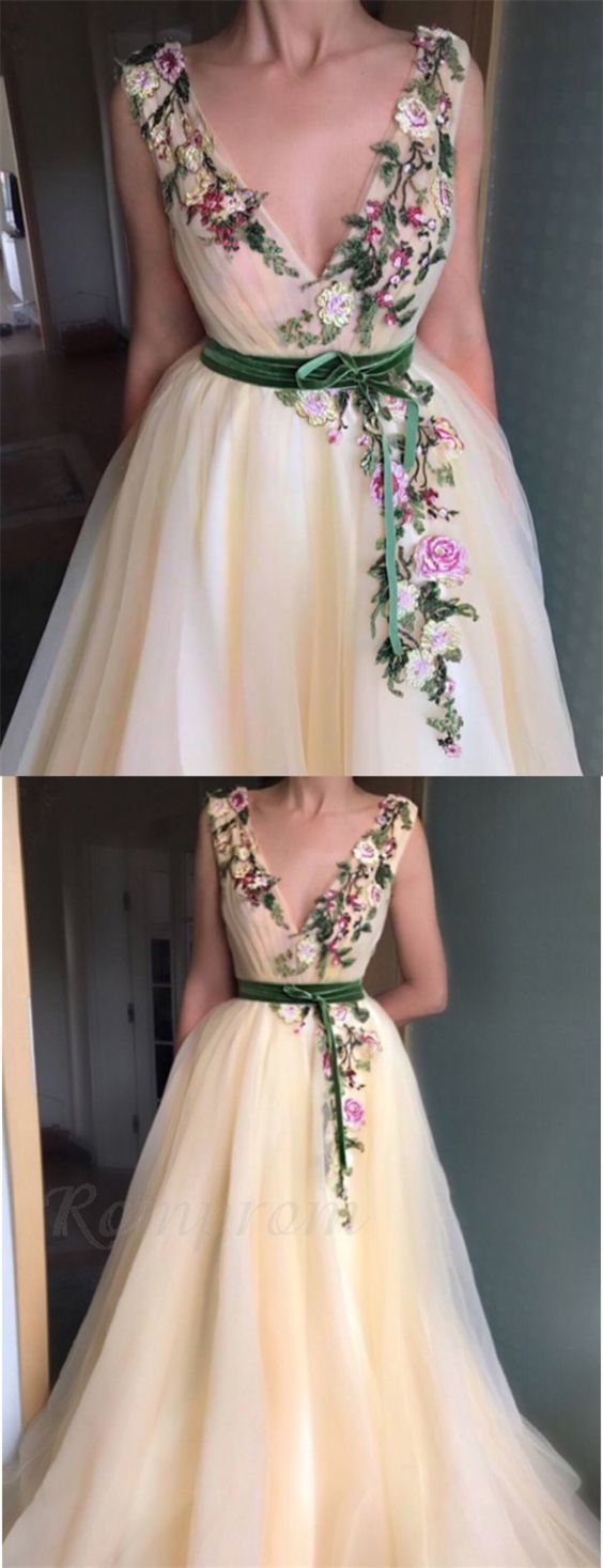 A-Line V-Neck Sweep Train Beige Prom Dress with Appliques Sash