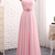 Pink chiffon customize long A-line beaded sweet 16 prom dresses
