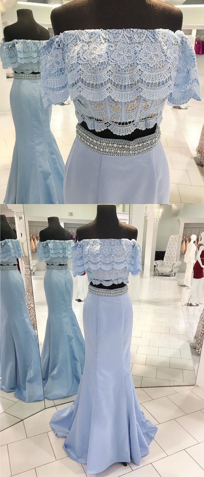 Spring fresh blue satin beaded two pieces long mermaid homecoming dress, long