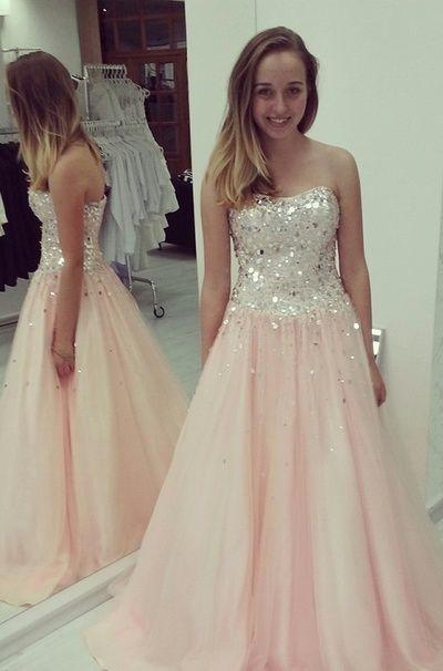 Elegant A-Line Prom Dresses,Chiffon Prom Dresses,Strapless Prom Dresses,Sequined