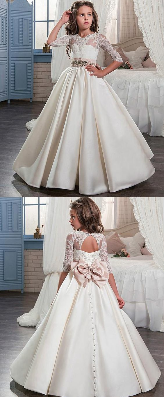 Glamorous Tulle & Satin Jewel Neckline A-Line Flower Girl Dresses With Lace