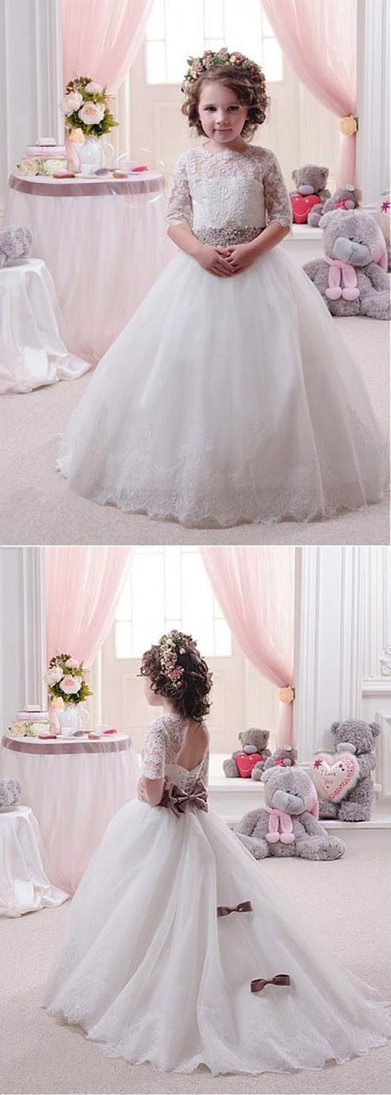 Charming Tulle & Satin Jewel Neckline Ball Gown Flower Girl Dresses With Lace