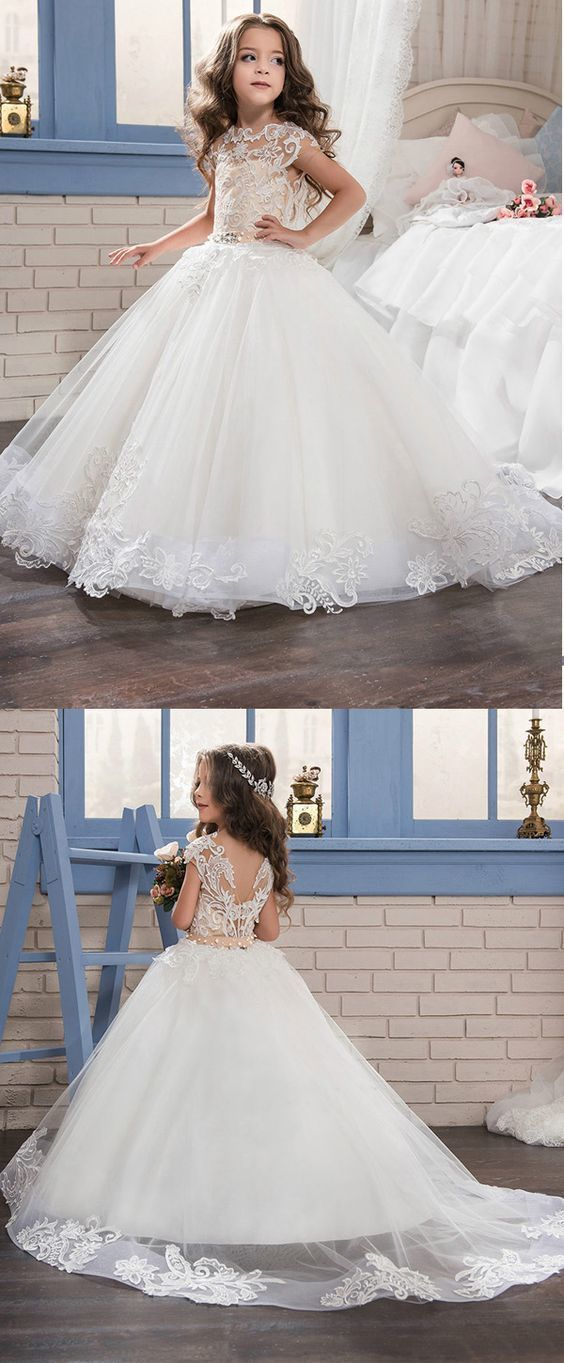 Marvelous Tulle & Satin Bateau Neckline Ball Gown Flower Girl Dresses With Lace