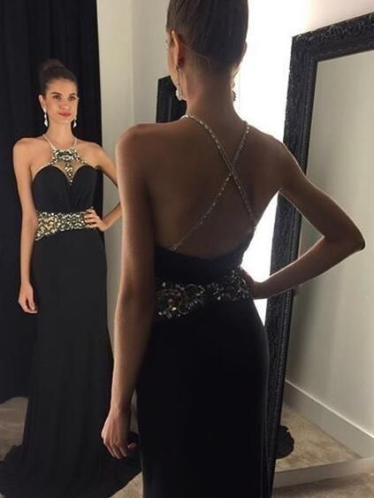 Black Long Prom Dress With Beading Custom Made By Rosyprom On Zibbet