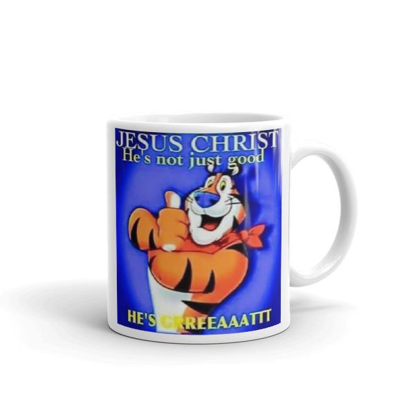 Jesus Chirst is more than goo he's greatr Bible kjv,Bible,Coffe mug,Tea cup.
