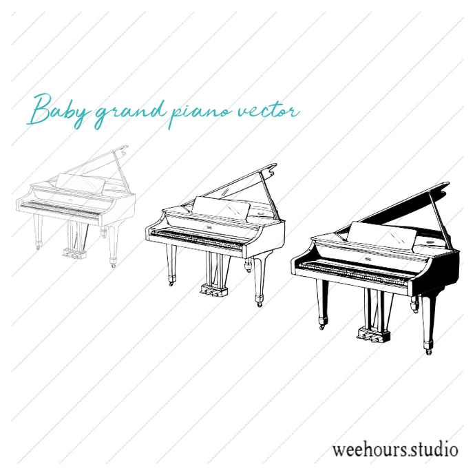 Baby Grand Piano vector pack for digital scrapbooking, stamps, stationery,