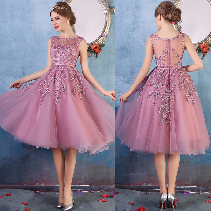New Illusion Prom Dress,Purple Knee Length Tulle Prom Dress, Wedding Guest Prom