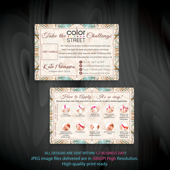 Personalied Color Street Twosie Cards, Color Street Free Sample, Watercolor
