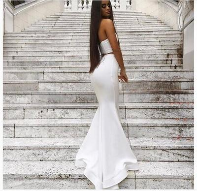 0c3a48d08d6 Mermaid White Two Pieces Prom Dress, Sexy V-neck Prom Dresses, Sexy White