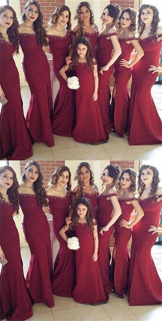 Elegant Burgundy V Neck Off Shoulder Side Split Mermaid Satin Bridesmaid Dresses