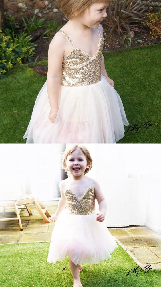 cute flower girl dress, spaghetti straps short flower girl dress, gold sequins