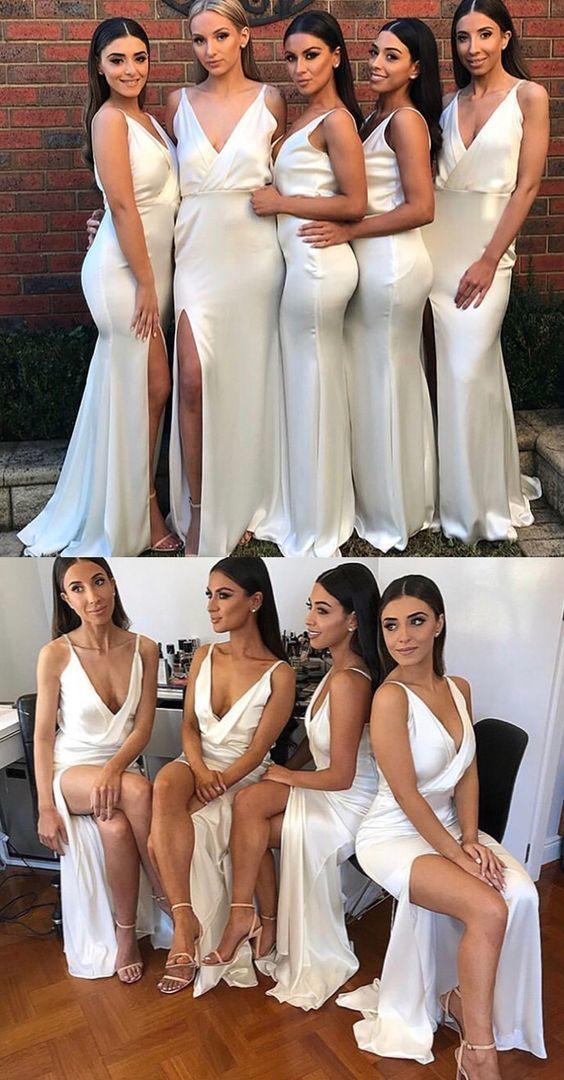 Mermaid Ivory V Neck Split Long Bridesmaid Dress