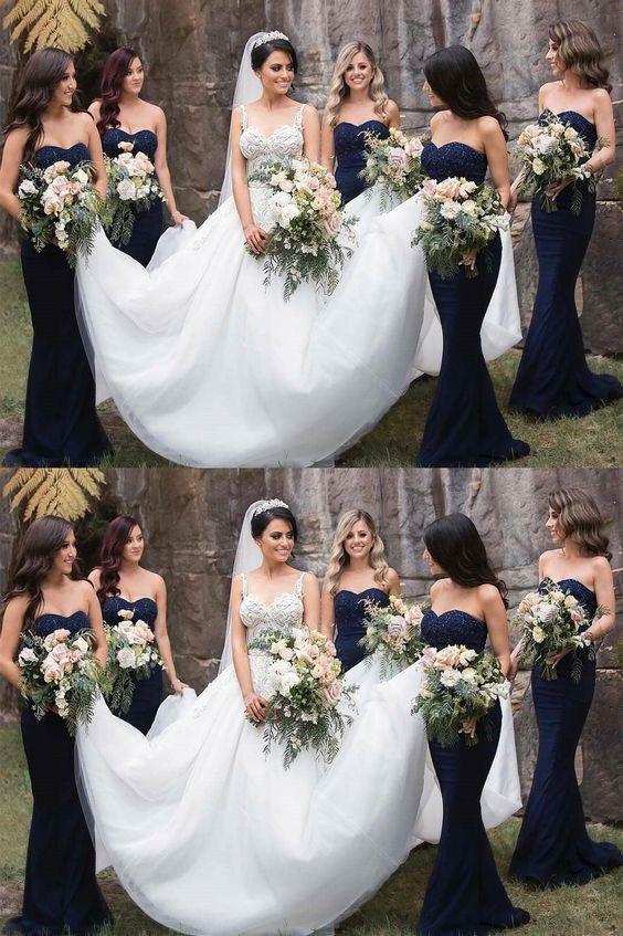 gorgeous strapless navy blue mermaid long bridesmaid dresses formal dresses