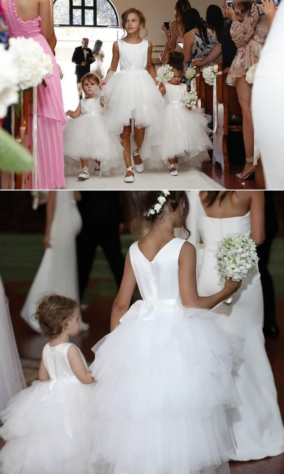 Princess High Low White Flower Girl Dress