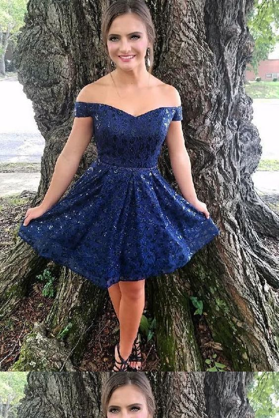 Navy Blue Lace A Line Prom Dress, Cute Mini Prom Gowns, Short Homecoming Dress