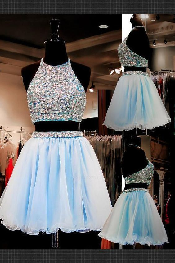 Light Blue Two Piece Prom Dress, Sexy Halter Crystal Beaded Short Prom Gowns,