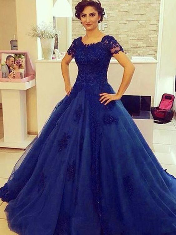 56212224fbe Charming Short Sleeve Navy Blue Tulle Ball by fancygirldress on Zibbet