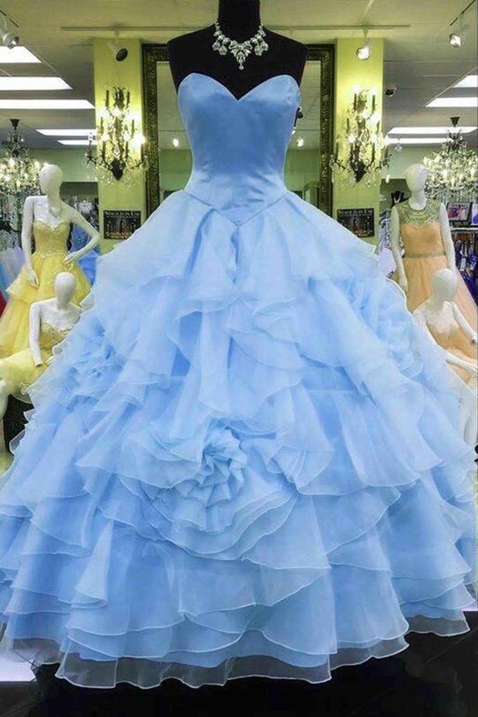 09afccc081d Light blue chiffon satin sweetheart ball gown by DestinyDress on