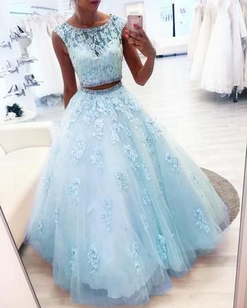 Elegant Light Blue Two Piece Prom Dress, Tulle Appliques Evening Dress