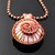 Wire woven spiral pendant with lampwork cabochon