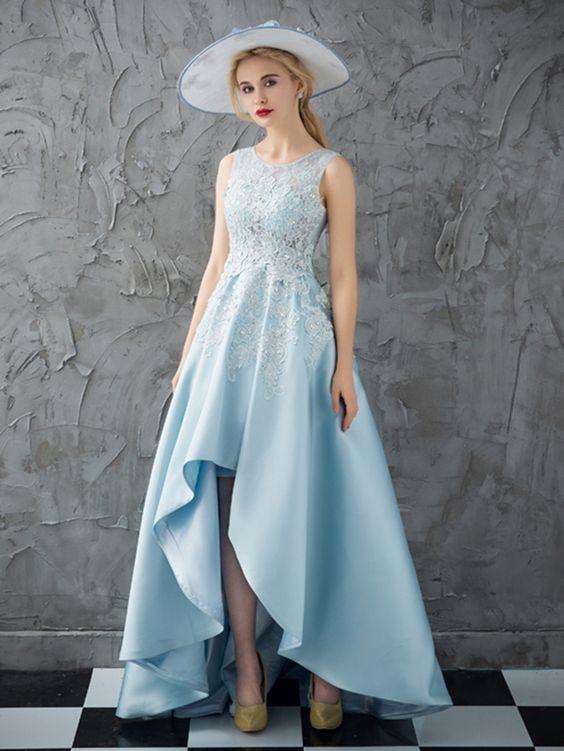 Elegant A Line Blue Prom Dress, High Low Homecoming Dress, Appliques Prom