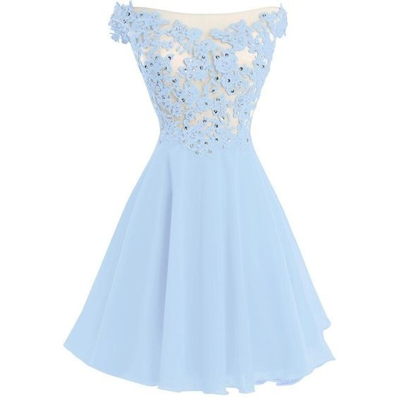 Copy of Light Blue Lace A Line Prom Dress, Short Homecoming Dress, Cheap Party