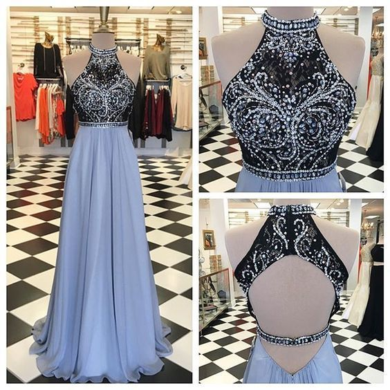 Charming Blue A Line Prom Dress, Halter Chiffon Long Prom Dresses, Beading