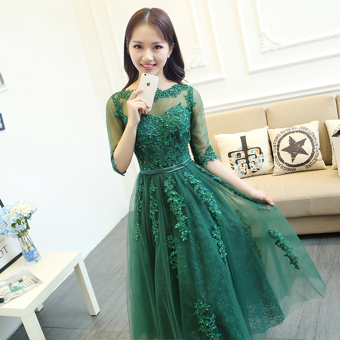 Half Sleeve Appliques Homecoming Dress, Tulle Appliques Prom Dress
