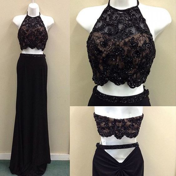 Charming Black Two Piece Prom Dress, Halter Beaded Prom Dresses, Long Evening