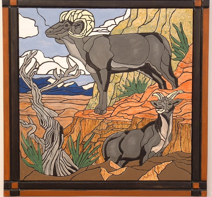 Mountain Goats, Landscape, Wood Wall Art, Nature and Animals