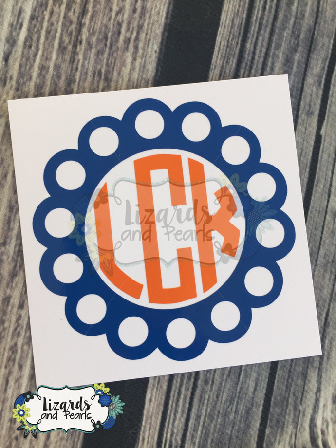 Two-toned Scallop/Circle Monogram Decal/ Decal for YETI / Decal for RTIC / Decal
