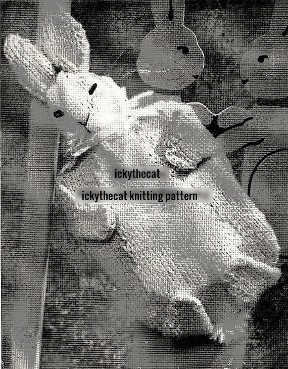 Instant PDF Digital Download Vintage Knitting Pattern Bunny Rabbit Hot Water