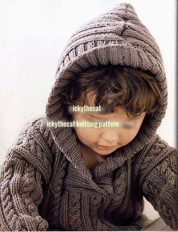 Instant PDF Digital Download Vintage Knitting Pattern Baby Toddler Child's Cable