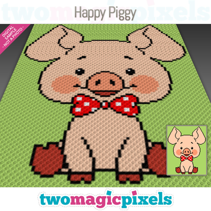 Happy Piggy crochet graph (C2C, Mini C2C, SC, HDC, DC, TSS), cross stitch;