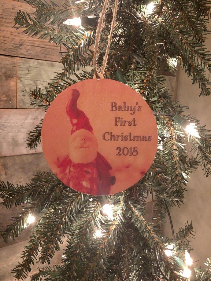 Baby's First Christmas 2018 Santa Circle Wood Ornament