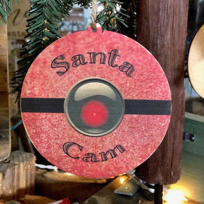 Red Santa Cam Circle Wood Ornament