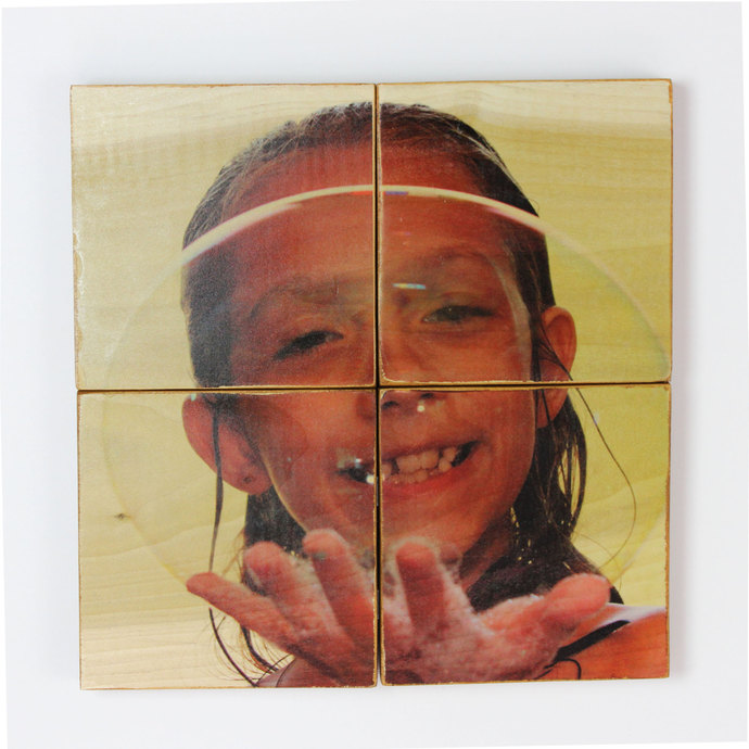 12x12 inch Photo Panel (Four Attached 6 x 6 inch Panels) - Your Photos on Wood!