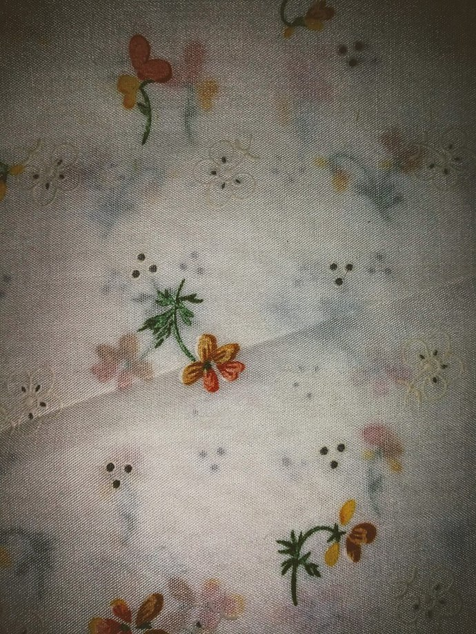 Vintage Cotton Fabric White with Yellow Flowers
