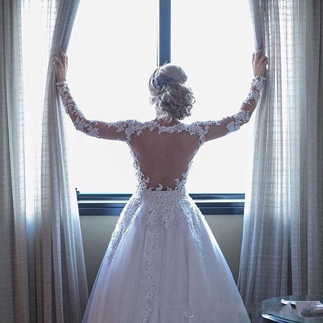 See Though Appliques White Tulle Long Sleeve Wedding Dress Vestido de novia