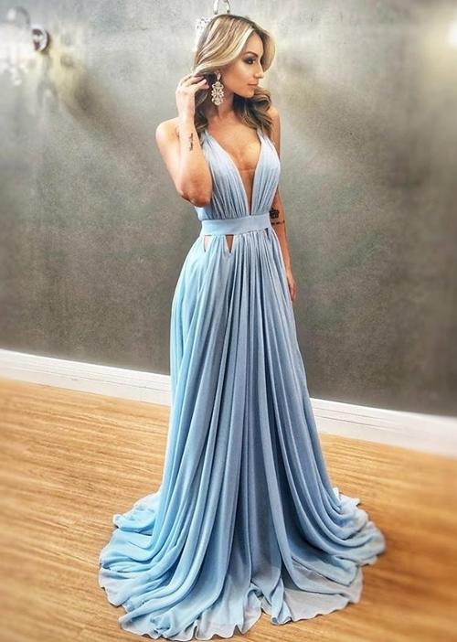 Sexy V neck Blue Chiffon Evening Dress, Blue Long Prom Dress