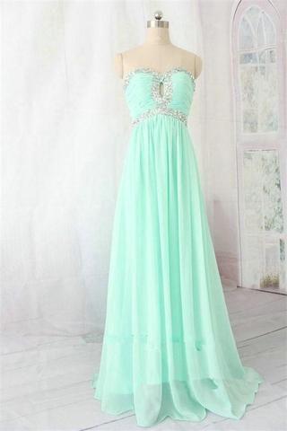 Green Chiffon Homecoming Dress, Beaded Long Prom Dress, Sexy Evening Dress