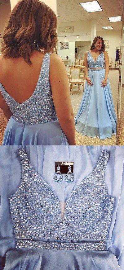 V neck Blue Chiffon Homecoming Dress, Sexy Beaded Long Prom Dress, Evening Party