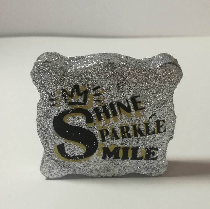 Shine sparkle and smile motivational small Block decor - OT001