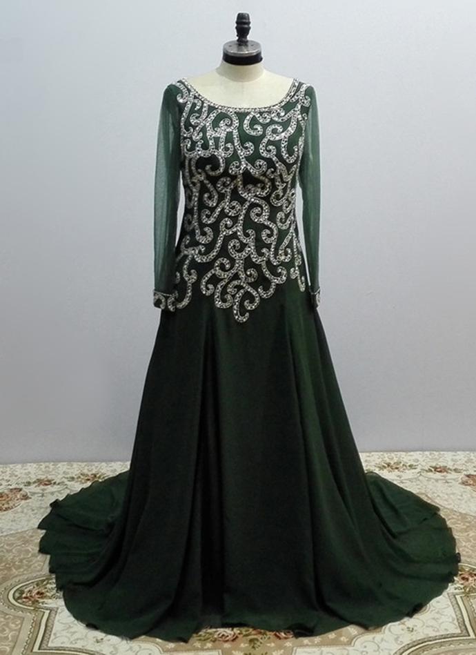 Dark Green Sequins Plus Size Long Sleeve A Line by Cutedress on Zibbet