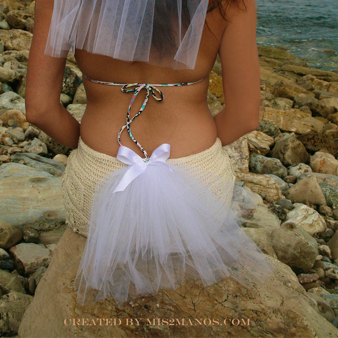 BACHELORETTE PARTY,  Bling, Bustle Veil, Three Tiered, Bikini Veil White bow,