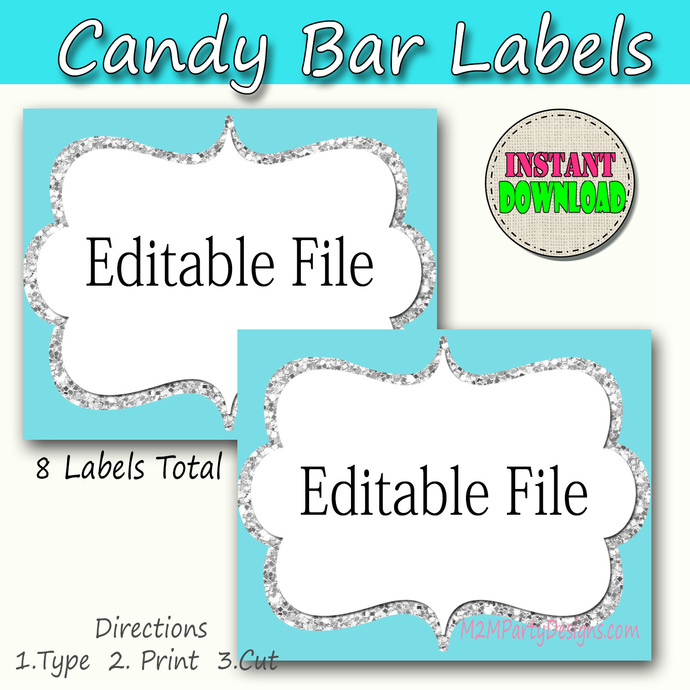Candy Buffet Labels Silver, Turquoise Print EDITABLE Card, Candy, Popcorn,