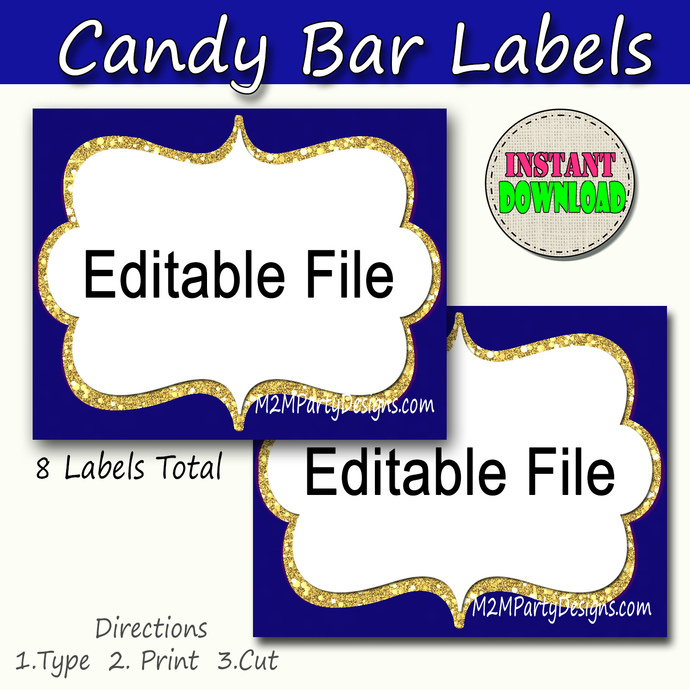 Candy Buffet Labels Navy Blue, Gold, Print EDITABLE Card, Candy, Popcorn, Snack,