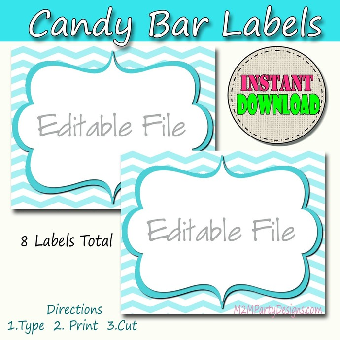 Candy Buffet Labels Chevron Blue Print EDITABLE Card, Custom Candy, Popcorn,